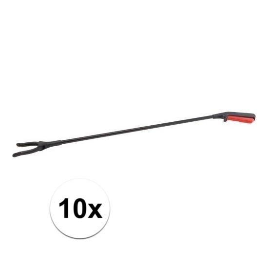10x afvalgrijpers zwart met rood 76 cm