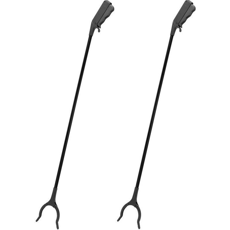 2x zwarte afvalgrijpers grijparmen 82 cm